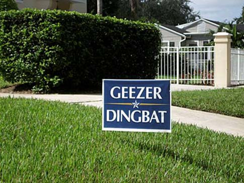 Geezer McCain yard sign