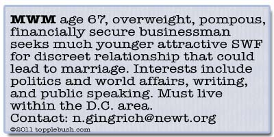 Newt Gingrich personal ad